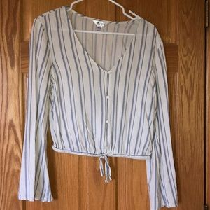 White and blue striped top